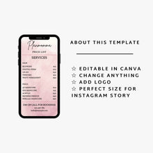 Load image into Gallery viewer, Pink Instagram Price List Template Set of 2 - Instagram Price List Templates, Business Price List Bundle, Makeup Price List,Story Highlights