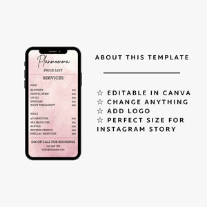 Pink Instagram Price List Template Set of 2 - Instagram Price List Templates, Business Price List Bundle, Makeup Price List,Story Highlights