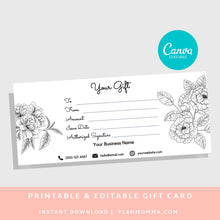Load image into Gallery viewer, Gift Certificate Template Spa - DOWNLOAD NOW gift card printable template printable, gift certificate editable, gift card editable gift card