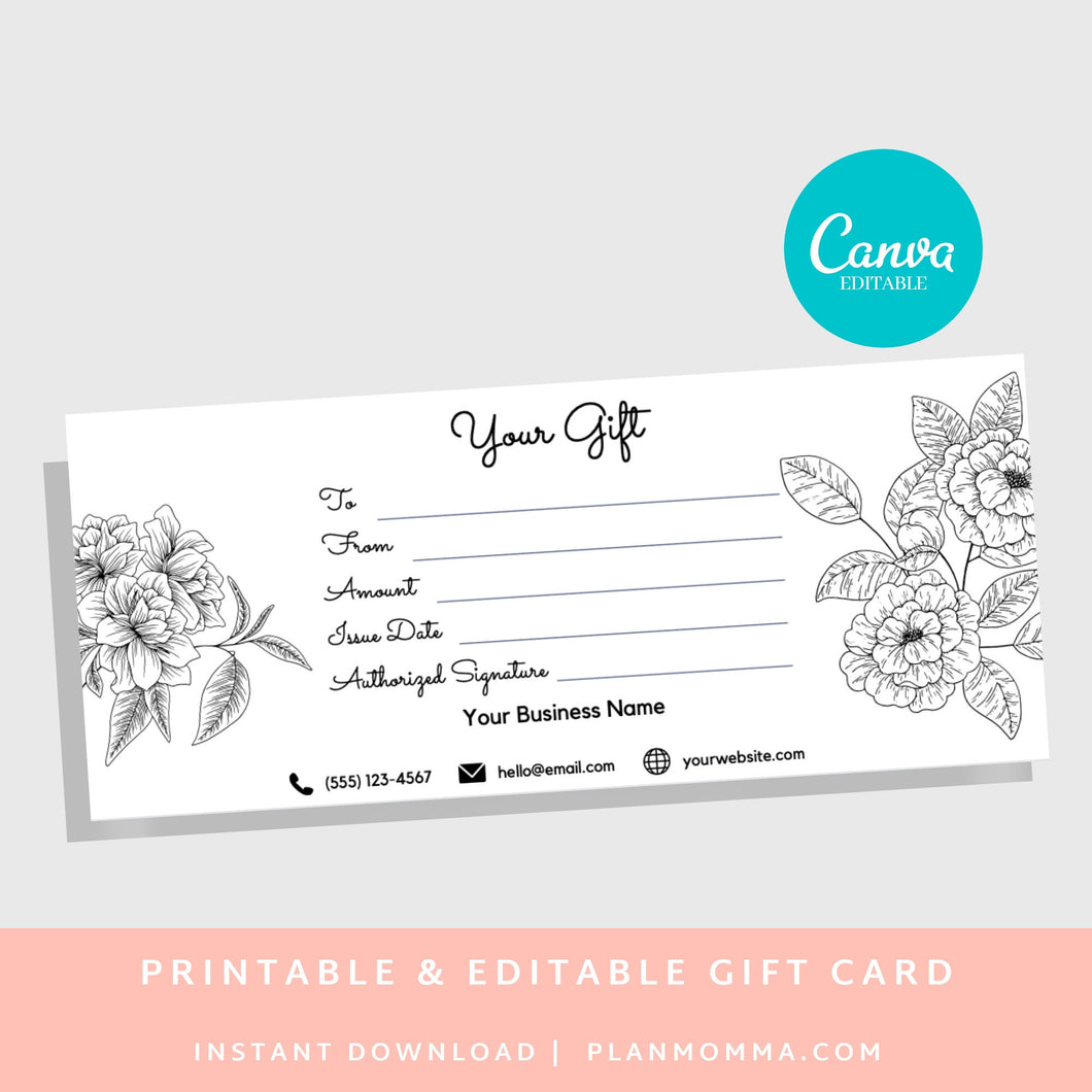Gift Certificate Template Spa - DOWNLOAD NOW gift card printable template printable, gift certificate editable, gift card editable gift card