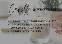 Load image into Gallery viewer, Candle Business Kit - Candle Printable Label, US Sales Tax License, Wholesale Candle Vendor List, Business Planner, New Business 2021