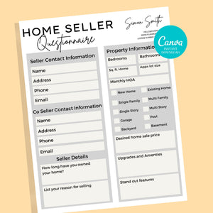 Home Seller and Buyer Guide Checklist - Real Estate Form, Canva Template, Client Questionnaire Form, Buyer and Seller Consultation Form, PDF