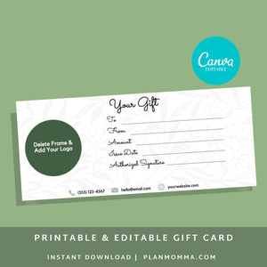 Gift Certificate Template for Hair Salon - gift card printable template printable, gift certificate editable gift card editable gift card