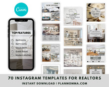 Load image into Gallery viewer, 70 Real Estate Instagram Posts Canva Template - Real Estate Marketing, Social Media Templates for Realtors, Modern Real Estate Design,