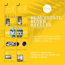 Load image into Gallery viewer, 20 Real Estate Instagram Buyer & Seller Tips - Instagram Posts, Social Media Template, Template Bundle for Instagram, Marketing, Canva