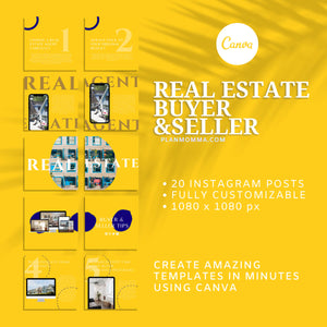 20 Real Estate Instagram Buyer & Seller Tips - Instagram Posts, Social Media Template, Template Bundle for Instagram, Marketing, Canva