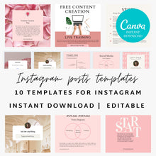 Load image into Gallery viewer, Instagram Post Canva Templates Set of 10 - Instagram Posts, Instagram Coach Instagram template business, Social Media Templates, Canva, IG