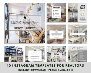 Real Estate Instagram Design and Templates Set of 10 - Editable Realtor Agent Branding Posts, Modern Real Estate Design, Instagram Templates