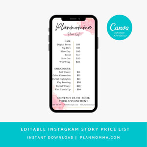 Pink Minimalist Instagram Price Story Template - Story Highlights, Makeup Price List, Editable Instagram Post Price list, Story template