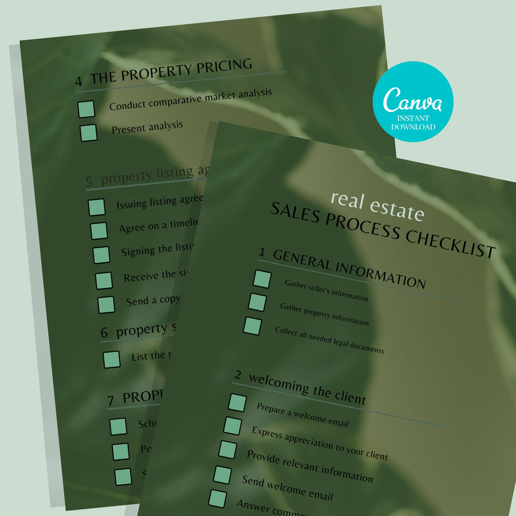 Realtor 2 Page Sales Process Checklist -Printable Checklist,Sales Process,Fillable Canva Template, Editable, Real Estate Marketing Templates