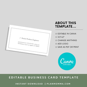 Diy business card | Instant Download - Canva Business Card, Business card template, Editable business card, printable business card
