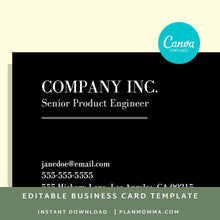 Load image into Gallery viewer, black business card template - Instant Download | elegant business card, formal business card, simple business card minimalist business card