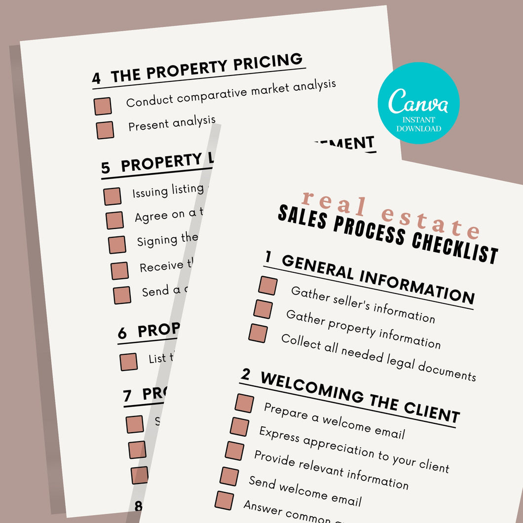 Real Estate Sales Process Checklist - Printable Checklist, Sales Process, Fillable Canva Template, Editable, Real Estate Marketing Templates