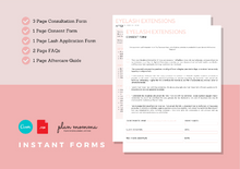 Load image into Gallery viewer, Eyelash Extension Bundle - Eyelash Consultation & Consent Form, Client Record Card, Aftercare, FAQs, Appointment and Income Sheet