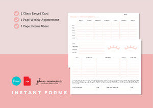 Eyelash Extension Bundle - Eyelash Consultation & Consent Form, Client Record Card, Aftercare, FAQs, Appointment and Income Sheet