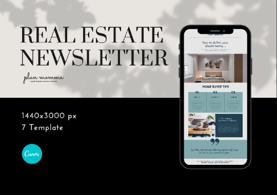 7 Newsletter Template - Real Estate, Realtor Newsletter, Real Estate Marketing, Canva Templates, Editable Templates, Instant Download