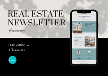 Load image into Gallery viewer, 3 Realtor Mailchimp Newsletter Templates - Email Marketing, Newsletter Templates, Mailchimp Newsletter, Canva, Email Template