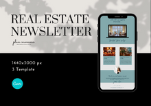 Load image into Gallery viewer, 3 Real Estate Mailchimp Newsletter Templates - Email Marketing, Newsletter Templates, Mailchimp Newsletter, Canva Templates, Email Template