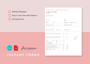 Eyelash Extensions Consultation Form, Consent Form & Lash Application Information - Instant Download, Boutique Templates, Canva Template