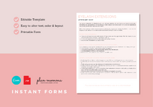 Load image into Gallery viewer, Eyelash Extensions Aftercare Guide & FAQs - Instant Download, Boutique Templates, Canva Template, Editable Form, Lash Extension Form