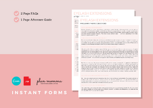 Eyelash Extensions Aftercare Guide & FAQs - Instant Download, Boutique Templates, Canva Template, Editable Form, Lash Extension Form