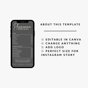 Elegant Instagram Price List Template - Editable Instagram Post Price list, Instagram Story Price List, Makeup Price List, Story Highlights