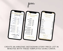 Load image into Gallery viewer, 8 Instagram Story Price List Template Bundle - Instagram Marketing, Makeup Price List, Story Highlights, IG Story, Salon Price List Bundle,