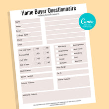 Load image into Gallery viewer, Set of Home Buyer and Seller Questionnaire, Home Buying Guide,Home Selling Guide,Buyer Seller Packet, Real Estate Marketing Templates