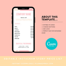 Load image into Gallery viewer, Instagram Story Price List Pastel Canva Template - Editable Instagram Price List, Price List, Instagram Story Template | Instant Download