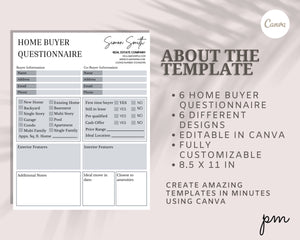 Home Buyer Real Estate Questionnaire 6 Designs - Home Hunting Buying Checklist, Lead Magnet, Buyer Questionnaire, Real Estate, Buyer Guide