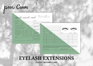 Client Record Card Form for Eyelash Extensions Business - Instant Download, Boutique Templates, Canva, Editable Form, Lash Extension Form