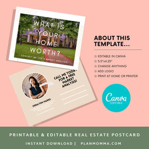 Realtor Postcard - Instant Download | agent postcard, canva template, Sell home, market analysis, real estate agent mailer, canva postcard