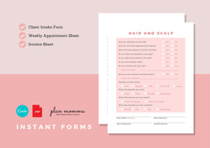 Hairstylist Form Bundle - Client Intake Form, Weekly Appointment and Income Sheet, Editable Salon Client Form, Instant Forms, Boutique Forms