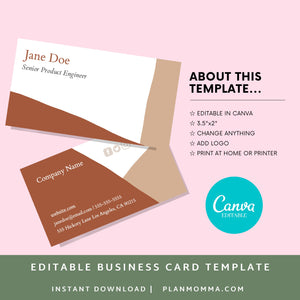 Abstract business cards - Instant Download | Brown business card, horizontal business card, printable business card, boho biz card, canva