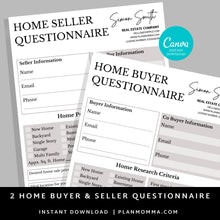 Load image into Gallery viewer, Bundle Buyer and Seller Questionnaire, Real Estate Home Buying Guide,Home Selling Guide,Buyer Seller Packet, Real Estate Marketing Templates