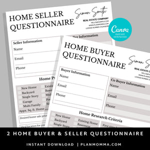 Bundle Buyer and Seller Questionnaire, Real Estate Home Buying Guide,Home Selling Guide,Buyer Seller Packet, Real Estate Marketing Templates