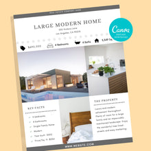 Load image into Gallery viewer, Real Estate Flyer Canva Template - Instant Download | Just listed flyer, Open house flyer, real estate marketing flyer, Canva realtor flyer