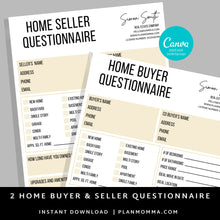 Load image into Gallery viewer, 2 Set Buyer and Seller Questionnaire, Real Estate Home Buying Guide, Home Selling Guide,Buyer Seller Packet, Real Estate Marketing Templates