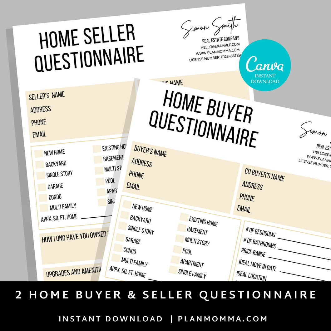 2 Set Buyer and Seller Questionnaire, Real Estate Home Buying Guide, Home Selling Guide,Buyer Seller Packet, Real Estate Marketing Templates