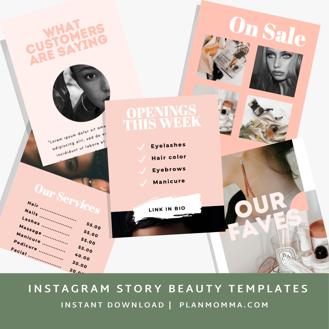 Instagram Story Templates - 5 In Set | Beauty instagram, instagram story, canva instagram template, skincare template, beauty template