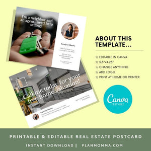 3 Real Estate Agent Postcard -Instant Download |Postcard template, real estate postcard, realtor postcard, printable postcard canva template