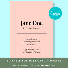 Load image into Gallery viewer, Vertical Business Card Pink | Instant Download Printable Canva Template, Printable Business Card, Custom Business Card, DIY Business Card