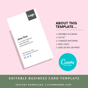 Vertical Business Card | Instant Download Printable Canva Template, Printable Business Card, Custom Business Card, DIY Business Card