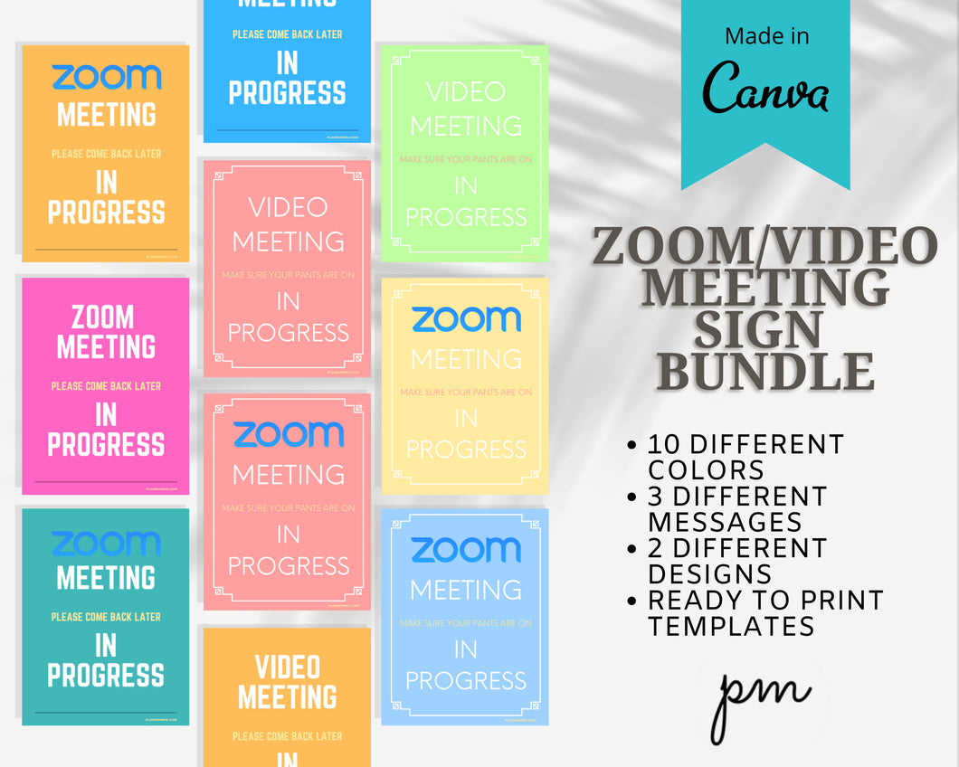 10 Zoom Meeting in Progress Printable Sign- Video Meeting Sign, Zoom Meeting Printable Sign, Do Not Disturb Meeting Sign, Printable Signage