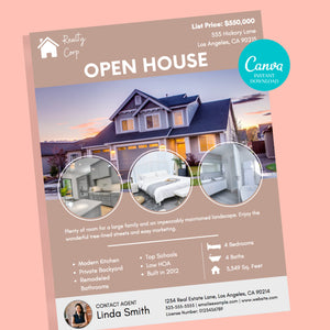 Open House Real Estate Flyer Canva Template - Instant Download | Just listed flyer, real estate marketing flyer, Canva realtor flyer