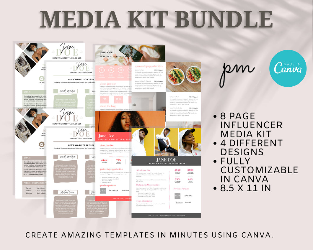 8 Page Media Kit Template Bundle - Social Media Kit, Press Kit, Influencer Kit, Blogger, Influencer, Instagram Influencer, Branded Media Kit
