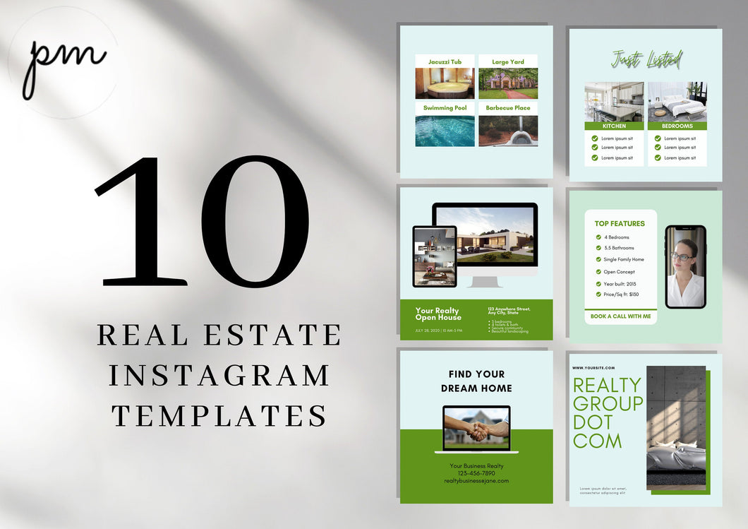 10 Editable Real Estate Templates for Instagram - Editable Realtor Agent Branding Posts, Modern Real Estate Design, Instagram Templates