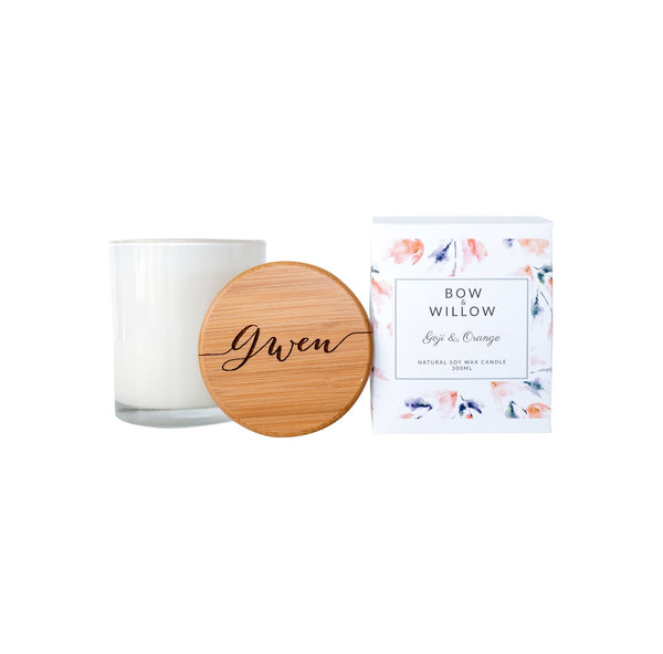 Goji & Orange - CUSTOM MESSAGE Personalised Soy Candle