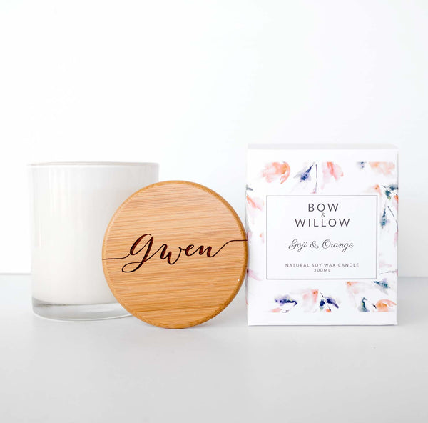Goji & Orange - CUSTOM NAME Personalised Soy Candle