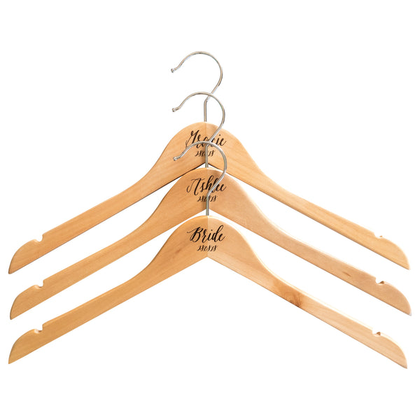 Personalised Engraved Hangers With Silver Plated Hooks - Set Of Three